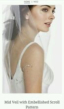 David's Bridal Mid Veil w/ Embellished Scroll Pattern, V652, Ivory ($79)