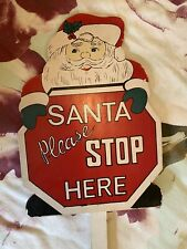 Santa Please Stop Here Wooden Outdoor Garden Sign Christmas Eve Xmas Children