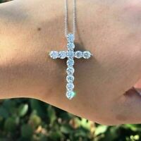 "2.50 Ct Round Cut Diamond Cross Pendant Necklace 18"" Chain 14k White Gold Finish"