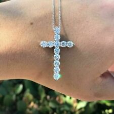 "2.5Ct Round Cut Diamond Cross Pendant Necklace 18"" Chain 14k White Gold Finish"