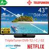 Telefunken 43 Zoll Full HD Smart TV Triple Tuner WLAN Fernseher 103 cm EEK: A++