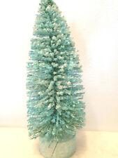 """7"""" Blue Green Bottle Brush Sisal Tree Easter Shabby Chic Glitter Flocked Snow"""