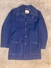 Vintage Work Jacket Mens Large Cresco Navy Blue Polyester Coat Sz 40 Mod 60s 70s