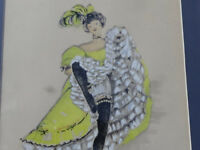 1960's hand painted offset lithograph Can Can girl by French artist Janicotte