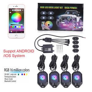 4Pcs RGB LED Rock Lights Wireless Bluetooth Music Flashing Offroad Multi Color