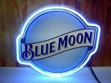 """Blue Moon Light Neon Sign Real Neon Light Store Display Beer Bar Sign 17""""X14"""""""