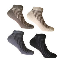 3 Pairs Trainer Liner Sports Socks Novelty Striped Foot Top Cotton Rich UK 6-11