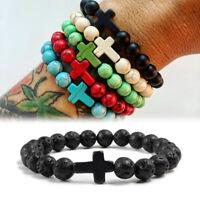 Charm Natural Stone Bracelet Cross Black Lava Handmade Men Women Jewelry Gifts