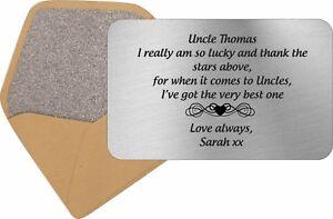 Personalised Best Uncle Keepsake Card Purse Insert Birthday Gift Xmas