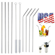8pcs Reusable Stainless Steel Drinking Straws Metal+Cleaner for 20/30oz Tumbler