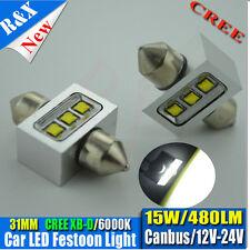 2X CAR CANUBUS CREE-XBD 15W LED Festoon Light Lamp Bulb White Car Interior 31MM