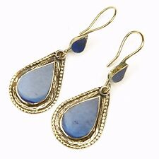 Pair LAPIS Earrings Belly Dance TRIBAL Unique Kuchi 725d4
