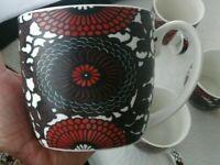 6 Johnson Brothers England Coffee Mug Fine China Damask  Red Black Floral