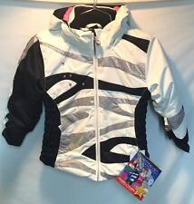 Obermeyer Kids Girls Kismet Parka Snow Ski Jacket Platinum White Black 4 NEW