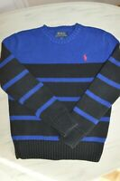 POLO RALPH LAUREN BOYS AGE 8 COTTON KNITTED JUMPER SIZE S BLUE STRIPED SWEATER