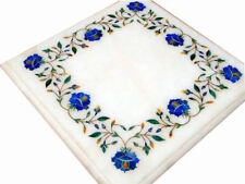 "12"" Semi Precious Stone Inlay Art Work Marble Table Top Home Decor"