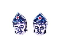 Vintage rétro style Argent Bouddha boucles d'oreilles tête