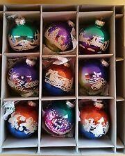 Christopher Radko Christmas Shiny Brites 9 Pc Signature Flocked Ombre Ornament
