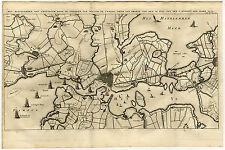 Antique Map-THE NETHERLANDS-HOLLAND-AMSTERDAM-BLOCKADE-IJ-SHIPS-Le Clerc-1730