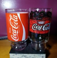 Vintage (2) Large Coca Cola Brand Glass Cup +2 Different Logos!! Clean!!