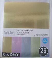 """Recollections FoilCardstock Paper 8 1/2"""" x 11"""" 25 Sheets PASTELS FOIL  New"""