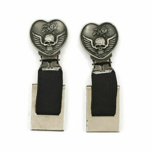 Ryder Clips Heart & Skull, 1 Pair, With Patina For Boots