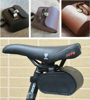 Vintage Leather Bicycle Bike Rear Saddle Bag Cycling Seat Pouch Rear Tail Bag