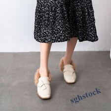 Retro Women's Mary Janes Leather Korean Winter Fur Warm Block High Heels Shoes