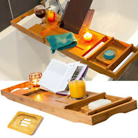 Bamboo Wood Extendable Bathtub Caddy Tray Wine,Bk/Tablet,Phone,Glass,Soap Holder