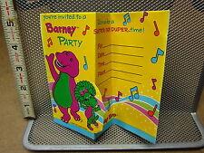 BARNEY & FRIENDS party invitations purple dinosaur PBS Baby Bop birthday 1992