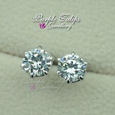 18K White Gold GP 1.25ct Round Cut Stud Earrings Made With Swarovski Diamond