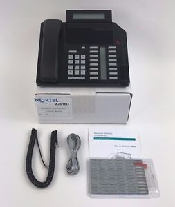Meridian M2616D Display Phone 9K Black Nortel - Bulk w Button Kit New Cords