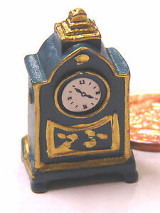 1:12 Scale Non Working Blue Mantle Clock Tumdee Dolls House Miniature Time D526