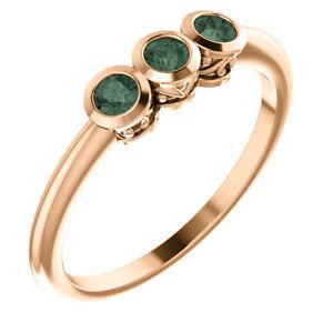 Genuine Alexandrite Three-Stone Bezel Set Ring In 14K Rose Gold