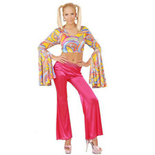 Ladies 60s 70s Bright Bell Bottom Flared Flower Power Trousers Disco Fancy Dress Pink