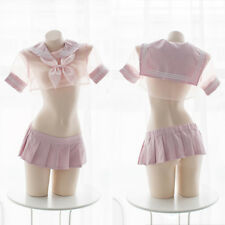 The New Sweet Kawaii Sexy Pink uniform Women Transparent Sailor suit cosplay#T8