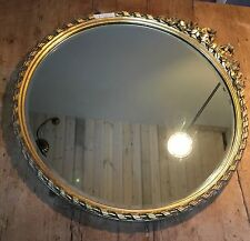 """ANTIQUE 19TH-20TH C. 22"""" DIAMETER ROUND GOLD  GILDED PLASTER MIRROR WITH BOW"""