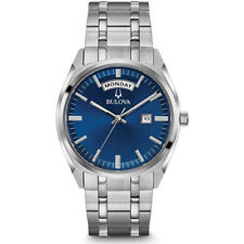 Bulova Mens Stainless Steel Classic Watch in Silver with Deep Blue Dial, 96C125