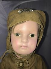 """17"""" Antique Wooden Soldier Doll Schoenhut - Flight Suit WW1!"""
