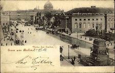 Berlin 1903 Unter den Linden Straßenpartie Straßenbahn Denkmal Kutsche gelaufen