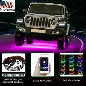 APP 126 LED RGB Under Car Strip Light Kit  Neon Tube Underglow Underbody System