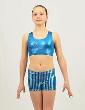 Gymnastic Set Bra Top & Shorts size MED child or XSMALL adult turquoise spandex