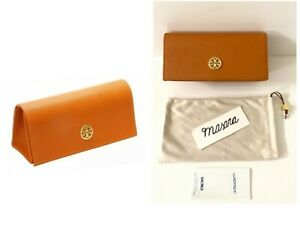 Torry Burch Glasses Flap Branded Case and Satin Bag Orange/Gold