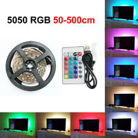 50-500CM USB LED STRIP LIGHTS TV BACK LIGHT RGB COLOUR CHANGING + REMOTE CONTROL