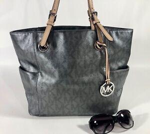 MICHAEL KORS  Granite/Silver Crossgrain  Leather Jet Set Tote Handbag