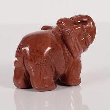 "2"" Carved Red Jasper Elephant Animal figurine reiki chakra wealth Fengshui"