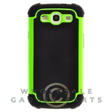 Samsung i9300 Galaxy S3 Hybrid Case Black/Lime Green Cover Shell Protector Guard