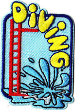 """DIVING"" w/Diving Board- Iron On Embroidered Patch - Swimming, Sports, Words"