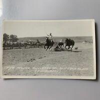 RPPC Real Photo Postcard Ekc Rodeo Tye Moore Bulldogging Buffalo Rodeo