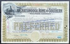 CHATTANOOGA, ROME & SOUTHERN RAILROAD CO. Stock 1901. Rome to Griffin, GA.  VF+